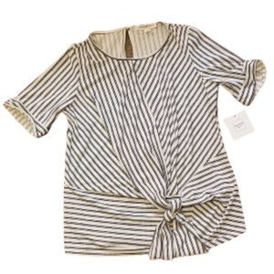 Perseption Concept Striped Short Sleeve Top | S